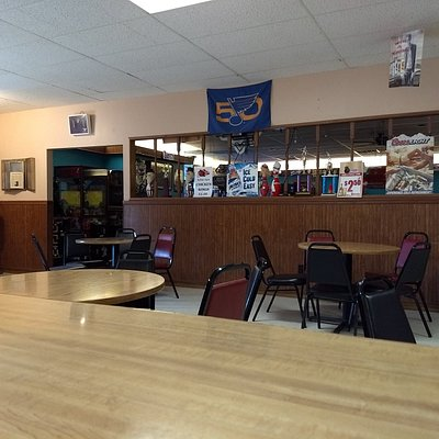 The area between the seats for the bowling lanes and the lounge