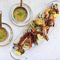 Pesce e Crostacei Grigliati, Polenta Bivalve e Coriandolo