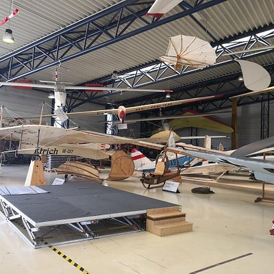 Hangar with exhibition of planes.