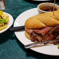 BEST Prime Rib sandwich, $14 for at least 10oz of fresh made prime rib, well seasoned, Awesome