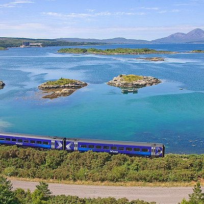ScotRail 158 approaching Kyle of Lochalsh.