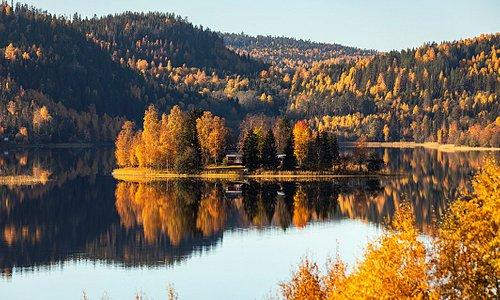 Höstvy över sjön Vågsfjärden i Nordingrå