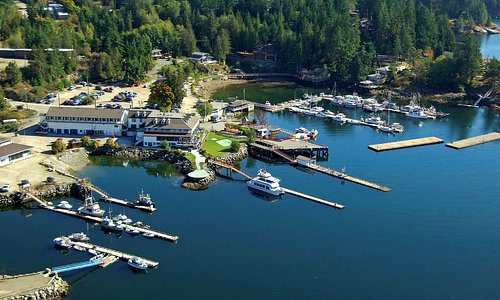 Aerial view of the stunning location at Desolation Sound
