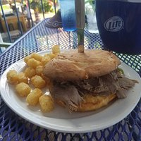 Beef Sandwich with tator tots, enouch for two!