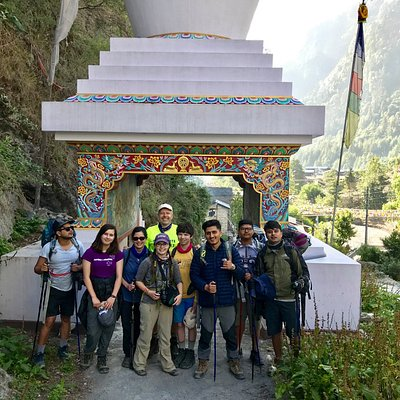 A group photo at Chame on the way to Annapurna circuit trekking trails where we start our walk.Annapurna Circuit Trek June 2019.