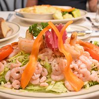 Seafood salad with crab, shrimp and huge prawns. Have the Louis Salad Dressing.