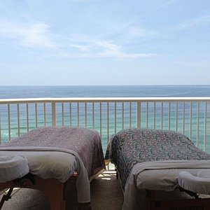 this is from a balcony where we set up for a housecall, providing a beautiful view and the sound of crashing waves!