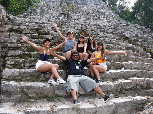 Having a great time at the Cobá Ruins!