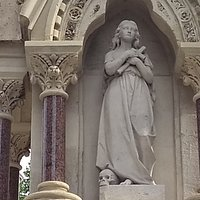 Statue of Mary Magdalene on the fountain