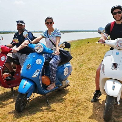 Explore riding Vespa along the Western Baray reservoir with Vespa Adventures Siem Reap.