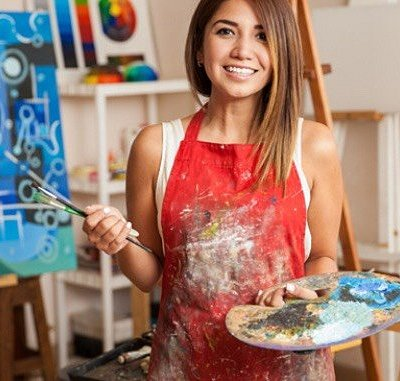 An instructor guides you through painting.