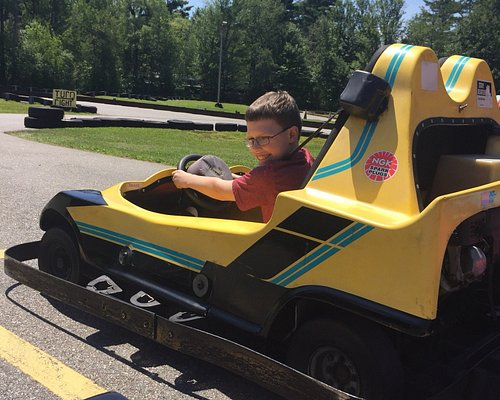 Fun fun fun! Go karts go up 20 mph. $7 each round or 6/$38. Each round is 5 trips around track or about 5 minutes. Ages 10 up. Good size track.  Also kiddie track for youngsters