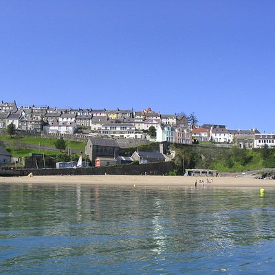 Beautiful New Quay Bay. Our building is in the centre of the photo.