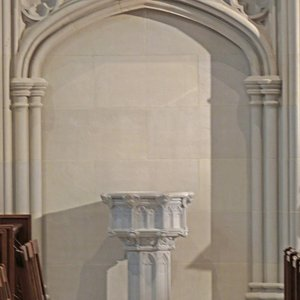 The baptismal font is one of the many distinctive features of the interior of Thompson Memorial Chapel, located on the Williams College campus.