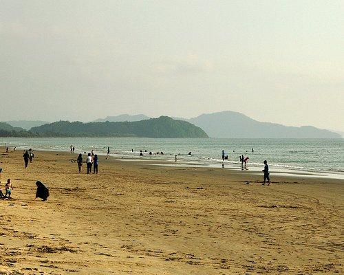Mountain layers were seen to the south of Sabandar Beach, Tuaran, Sabah, Malaysia.