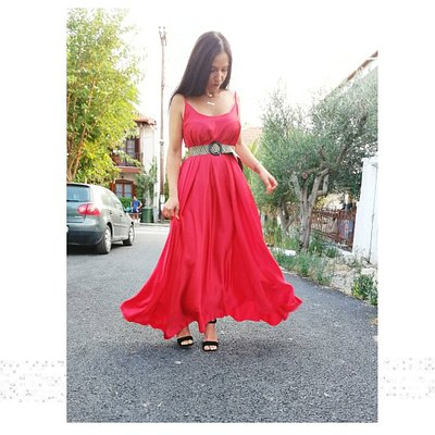 Red Satine dress