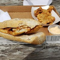 Great fish and chips, fish on a bun and Kibbeling