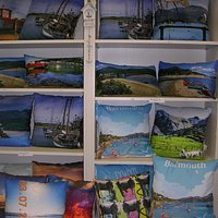 Colourful cushions in the gift shop (Barmouth Railway Station)