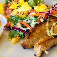 Fresh rockfish taco with their fierce green goddess-like sauce.