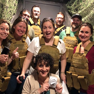 "Players enjoy the survival-theme experience of Escape the Pike's first room, ""Podunk."""