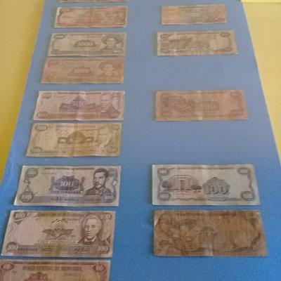 Colección de billetes.Museo de Antropologia e Historia de Rivas