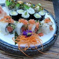 Salmon avocado roll, avocado maki, grilled tuna roll