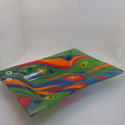 Glass dish. rectangular 40 x 30 cm in 5 mm glass. Painted, fused and slump in a mold.
