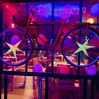 bicycle  is the signature design of restaurant UP-65.it advise people  to use more and more bicycle and be healthy.