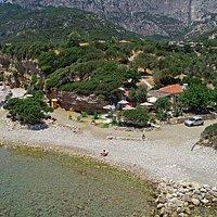 Mocambo Beach Bar and Fournaki Beach at Aspres Kampos Marathokampos (Votsalakia) Samos