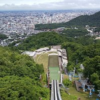View from the top of Okurayama Ski Jump, access 90 min hike up and along trails from Sankaku