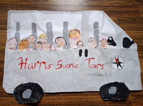 After giving the local primary 1&2 children a wee talk about Harris, they very kindly drew my bus with us all onboard.
