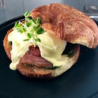 Eggs Benedict served on a Toasted Croissant!