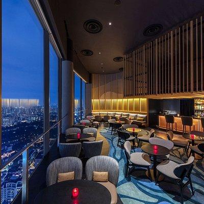 SKAI Bar interior in the evening