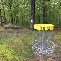 Practice Basket at Collins Park Disc Golf Course. This is a 9 hole disc golf course at Collins Park behind the former Collins Middle School in Oak Hill.
