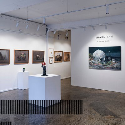 "Shaun Tan's solo exhibition ""Untold Tales"" at Beinart Gallery. Photo taken in March 2019 by Max Milne."