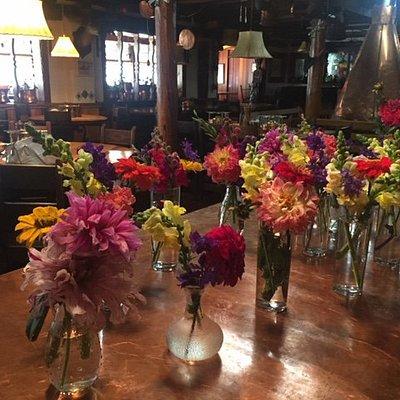 Fresh market flowers for the Fechin Art Workshops at the Hotel St. Bernard.
