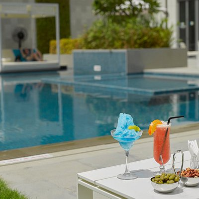 Enjoy by the pool while sipping on our signature cocktails.