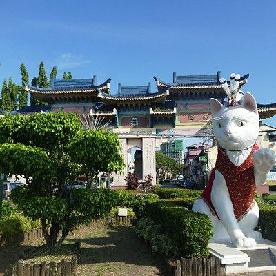Great White Cat Statue on Padungan Roundabout in Kuching.