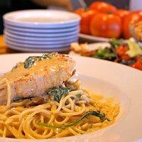 The Salmon and Spaghetti in a chipotle cream