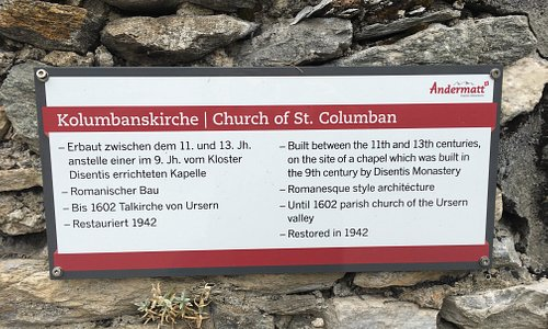 This plaque tells of the Church of St. Columban.