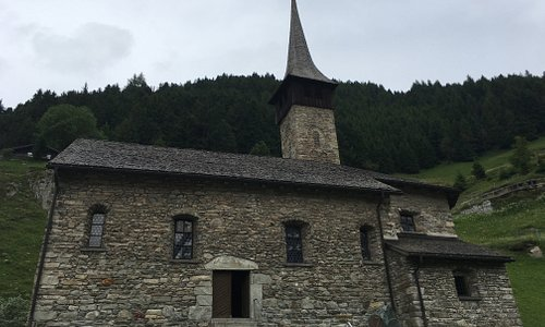 This is the side of the church that faces Andermatt and has an entryway.