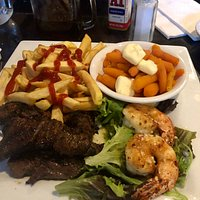 Surf and Turf with carrots and fries