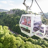 Head for the Heights of Abraham, Matlock Bath, Derbyshire. Once you pay for your cable car ticket, all the attractions at the top are free.