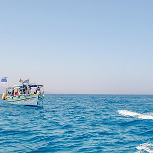 Our boat on the Aegean Sea