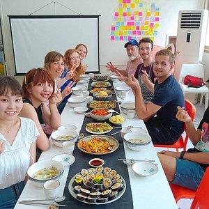 Junotrip cooking class in busan. Tour Jagalchi market + cook korean dishes
