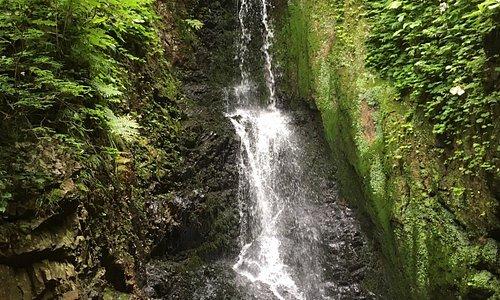 今は閉鎖されている洞窟風呂の隣にある滝