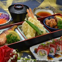 COMBINATION BENTO - your choice of 3 or 4 'entrees' with rice, soup, salad.