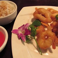 My sweet & sour shrimp. Notice the orchid...nice touch)