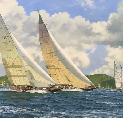 J-BOATS RACING by Terry Bailey oil