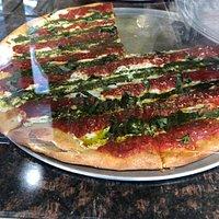 Pesto pizza- beautiful!